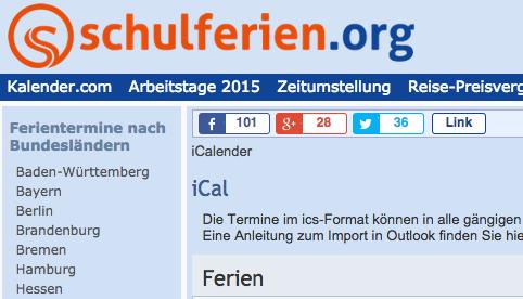 スマフォにドイツの休日や学校の休みをインポート